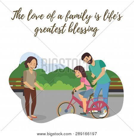Flat Vector Happy Family Spends Weekend Together. Teenager Girl Learns To Ride City Bike. Postcard H