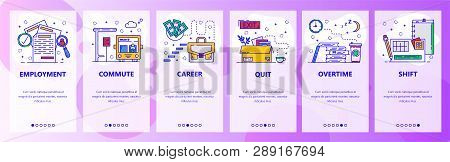 Mobile App Onboarding Screens. Job Career, Employment, Career Ladder, Overtime And Work Shift. Menu