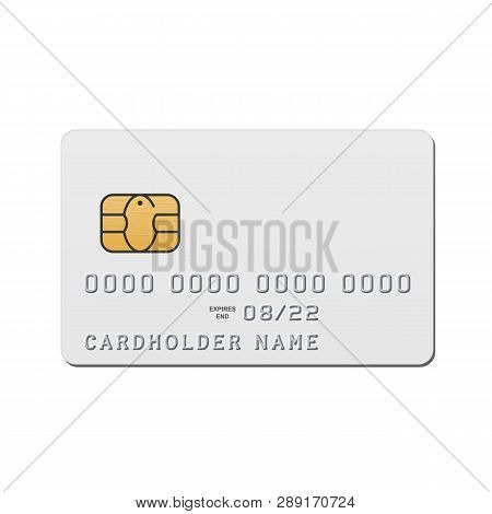Blank White Credit Card Template. Vector Mockup Of Credit Card With Emv Chip Isolated On White Backg
