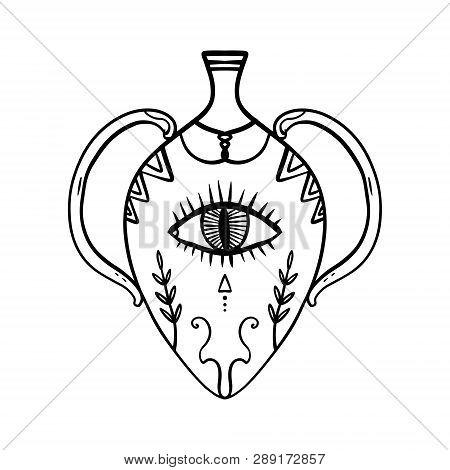 Hand Drawn Greek Vessel With Eye Of Providence, Stylized Tattoo Symbol