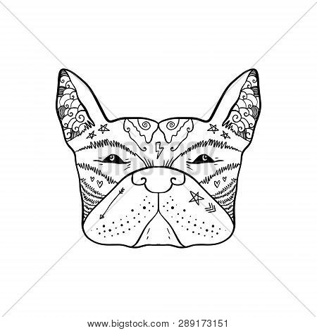 Portrait Of Handsome Stylish Casual Dandy Dog Hipster. French Bulldog. Sketch Doodle Style Illustrat