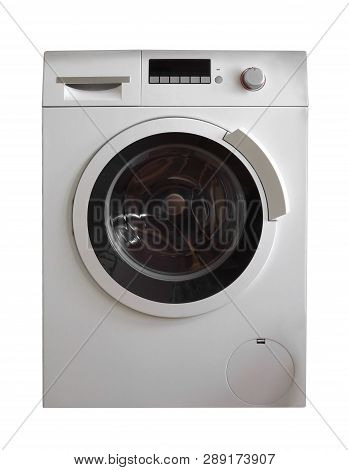 Washing Machine Isolated On White. Clipping Path Included.