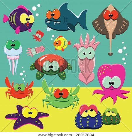 Funny sea animals set