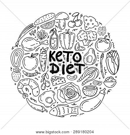 Handwritten Lettering With Low Carbs Ketogenic Diet Food