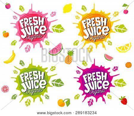 Fresh Juice Logo Emblem Bright Splash Shiny Stickers, Organic Emblems Banners Labels , Fruits Vegeta