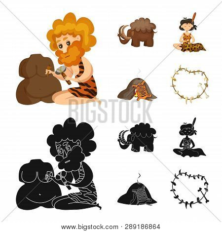 Isolated object of evolution  and prehistory sign. Collection of evolution  and development  stock symbol for web. poster