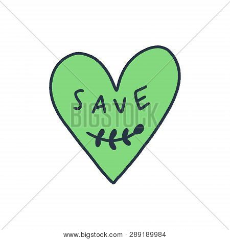 Hand Drawn Green Heart Label Or Logo With Text. Ecology And Environment Conservation Theme, With Lov