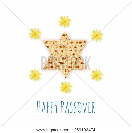 Happy Passover Concept, Matzah Isolated On White, Jewish Traditional Passover Bread, Yellow Field Fl