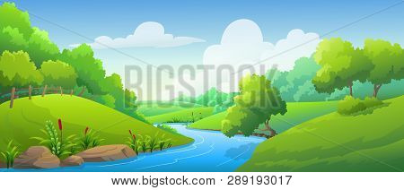 Vector Illustration Mountain And Cornfield The Morning