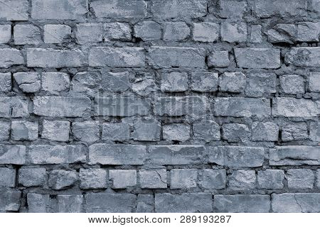 Vintage Gray Grunge Cement Brick Wall, Great Design For Any Purposes. Gray Stone Background. Old Gra
