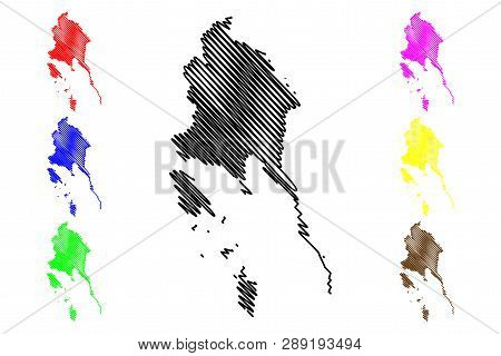 Trat Province (kingdom Of Thailand, Siam, Provinces Of Thailand) Map Vector Illustration, Scribble S