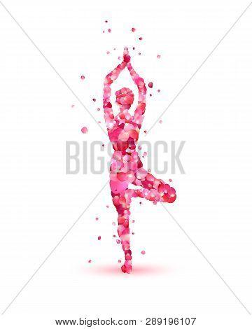 Yoga Asana Vrikshasana. Tree Pose. Silhouette Of Pink Rose Petals