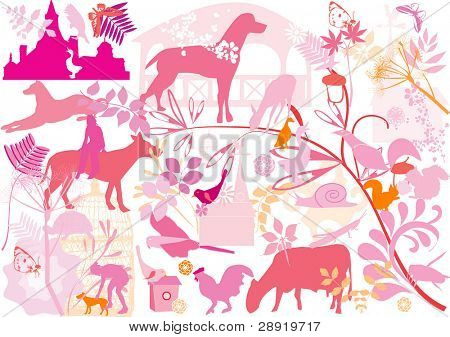 floral and animal wallpaper