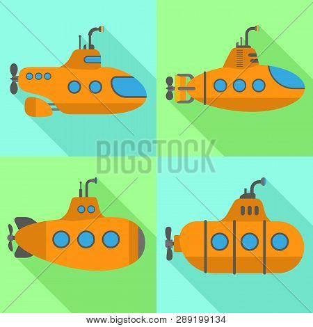 Periscope Submarine Icons Set. Flat Set Of Periscope Submarine Icons For Web Design