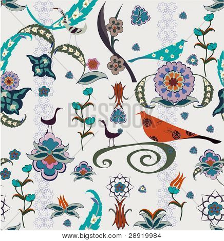 vintage wallpaper with design flowers and birds - seamless -