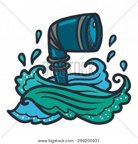 Sea Submarine Periscope Icon. Hand Drawn Illustration Of Sea Submarine Periscope Icon For Web Design