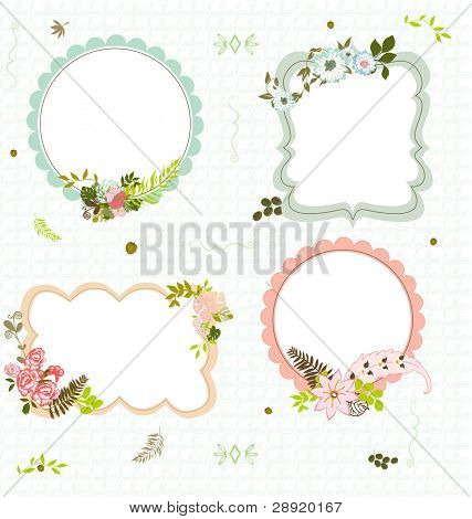 4 flourish frames on a blue seamless pattern background