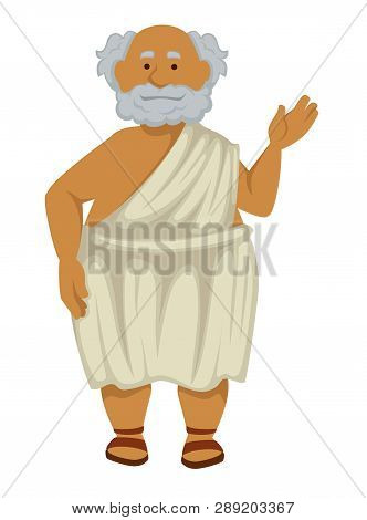 Greek Philosopher In Robe And Sandals Isolated Elderly Man