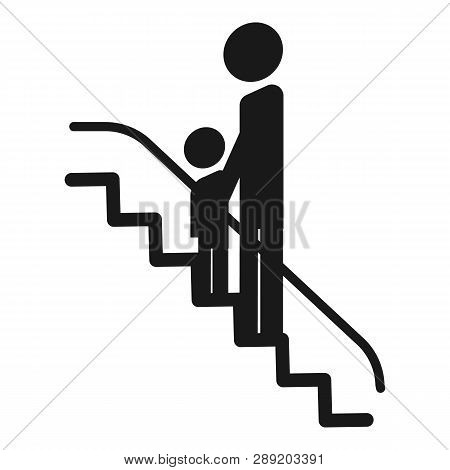 Child With An Adult Escalator Icon. Simple Illustration Of Child With An Adult Escalator Icon For We