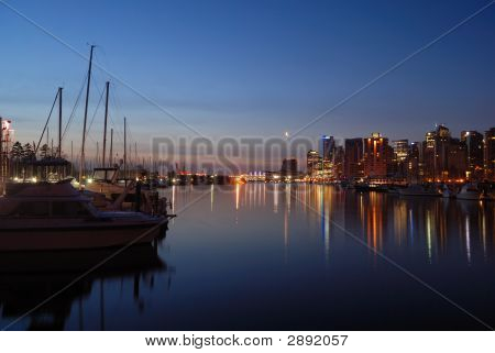 Downtown Vancouver At Dawn With Crescent Moon