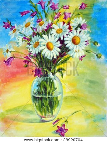 Painted bouquet of wild flowers in a vase