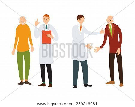 Doctor and patient. Medical specialist consulting with an elderly patient. Practitioner welcomes an old sick man. Cartoon illustration isolated in flat style on white background.. poster