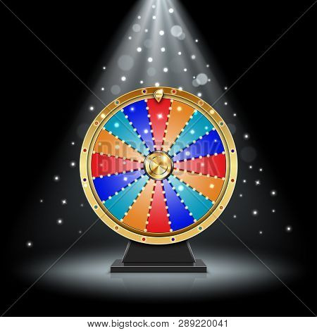 Realistic Spinning Fortune Wheel In The Light 3d Illustration