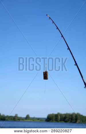 Feeder For Fishing In Weight Forty Gramme With Swivel Isolated On White. Clipping Path Included