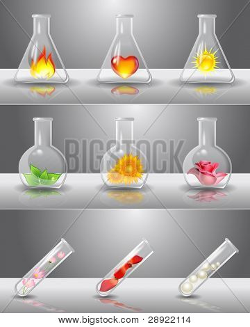 Laboratory flasks with different things inside