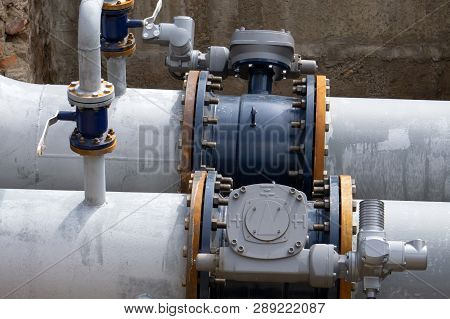 Series Of Measuring Instruments, Pressure Gauges And Temperature Indicators, Inserted Into Pipes, On