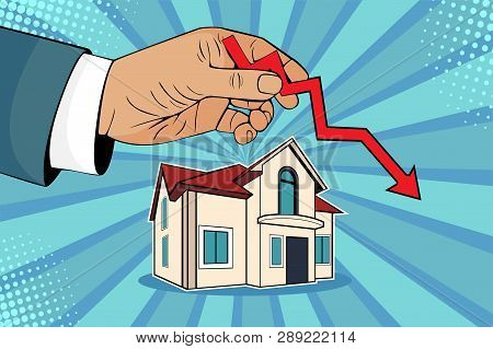 Falling Down House Prices. Man Is Holding Green Arrow Up In His Hand Upon House. Cartoon Comic Vecto