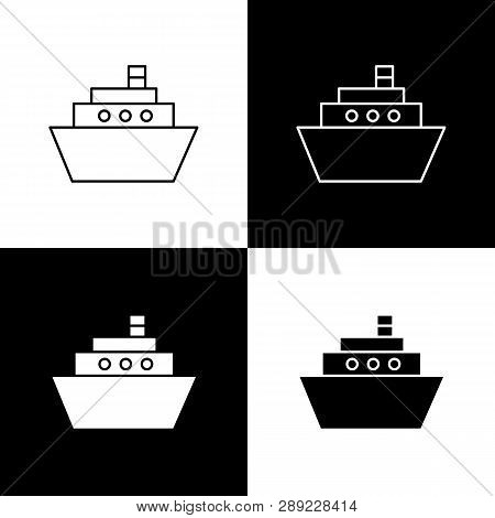 Flat Monochrome Ship Icon Set For Web Sites And Apps. Minimal Simple Black And White Ship Icon Set.