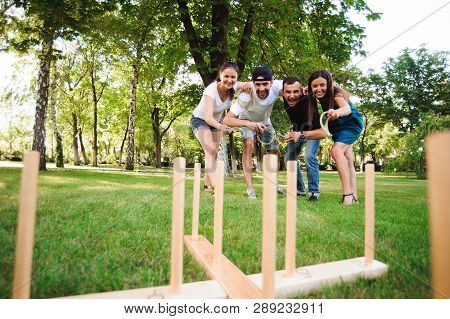 Outdoor Games - Ring Toss. Game Ring Toss In A Summer Park