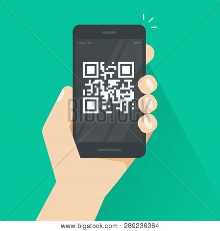 Qr Code On Smartphone Screen Vector Illustration, Flat Cartoon Mobile Phone With Bar Code Tech, Conc