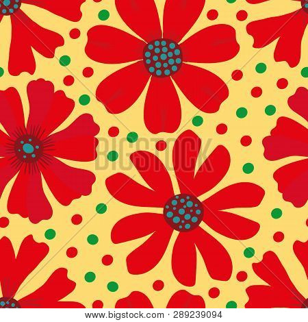 Hand Drawn Red, Green And Blue Blooming Flowers On Yellow Green Polka Dot Background. Seamless Vecto