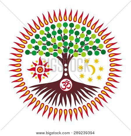 The Tree Of Life With The Sign Aum / Ohm / Om  In The Center Of The Mandala / Solar Disk On The Back