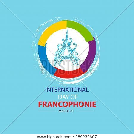 International Day Of Francophonie. March 20. Blue Background.