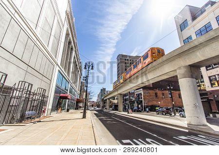 Detroit, Michigan, Usa - March 20, 2018:   Street View Of Downtown Detroit Michigan Neighborhood Wit