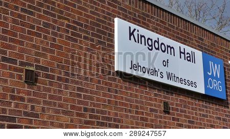 Harlow, England - 13 March 2019. The Kingdom Hall Of Jehovahs Witness, Located In The Staple Tye Are