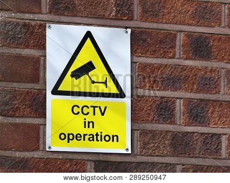 Harlow, England - 13 March 2019. Cctv In Operation Sign On A Wall In The Staple Tye Area