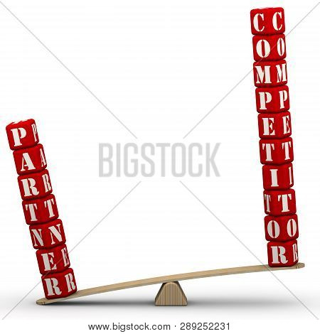 Partner, But Not Competitor. The Words Partner And Competitor (made From Red Cubes Labeled With Lett