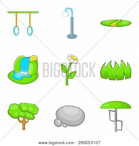 Workout Park Icons Set. Cartoon Set Of 9 Workout Park Icons For Web Isolated On White Background