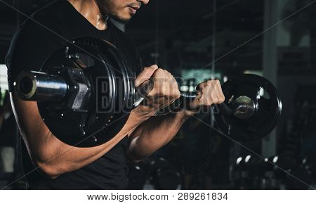 Training With Barbell, Athletic Shirtless Young Sports Man - Fitness Model With Barbell In Gym, Hand