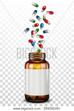 Open A Bottle Of Spilled Pills. Isolated On Transparent
