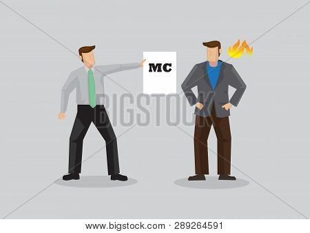 Cartoon Business Professional Giving His Angry Employer A Card That Reads Mc, For Medical Certificat