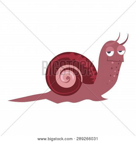 Bizarre purple snail flat icon. Book character, underwater world, slug. Mollusk concept. Vector illustration can be used for topics like zoology, nature, sea life poster