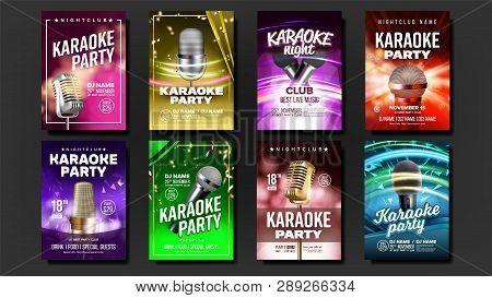 Karaoke Poster Set Vector. Music Night. Sing Song. Dance Event. Vintage Studio. Old Bar. Speaker Lab