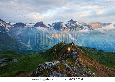 Picturesque sunrise on the top of Grossglockner pass, Swiss Alps mountains. Landscape photography