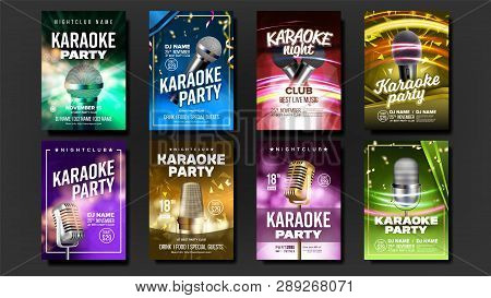 Karaoke Poster Set Vector. Party Flyer. Music Night. Radio Microphone. Retro Concert. Club Backgroun