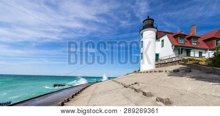 Panorama Of The Point Betsie Lighthouse On The Lake Michigan Coast. The Lighthouse Is Owned By Benzi